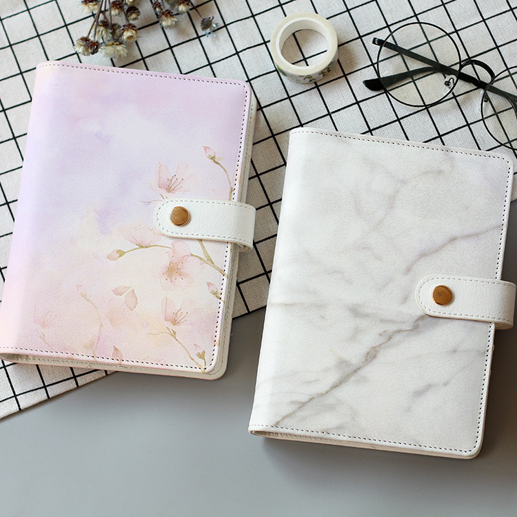 Marbel And Flamingo A6 Spiral Diary Cover PU Journal Book DIY Planner Supplies 1 Piece Suit For Standard A6 Paper the lovely colorful world and flamingo fashion diy a5 journal pu leather 216p 2017 students office supplies free shipping