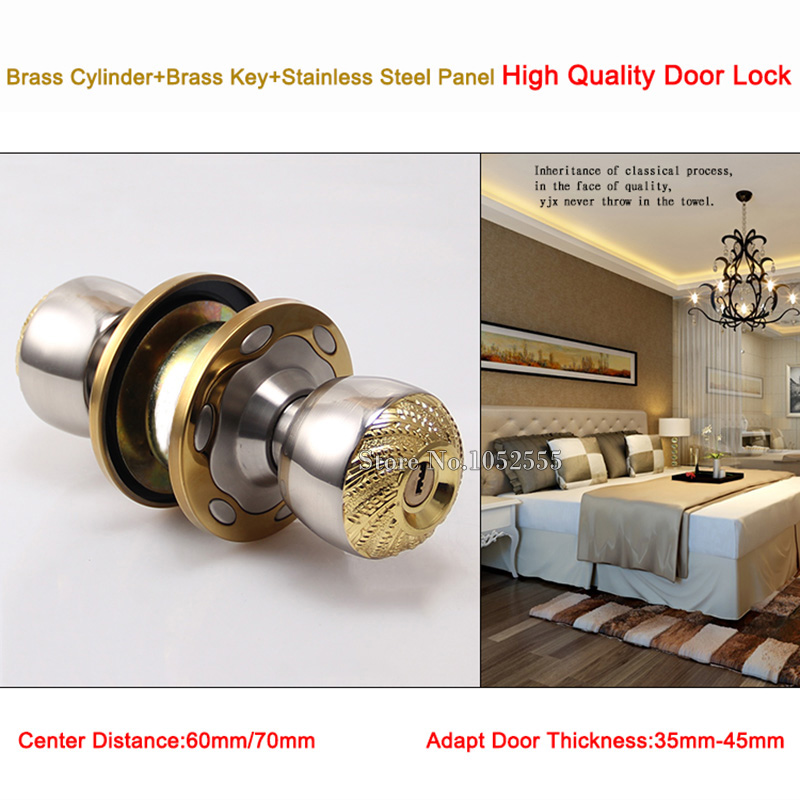 High Quality Gold Space Aluminum Round Door Knobs Handle Entrance ...