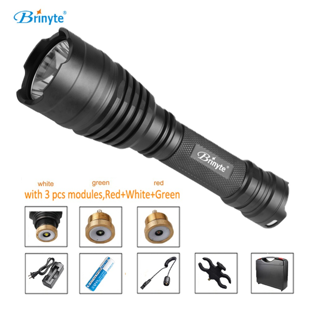 Brinyte B58U Hunting Flashlight Torch Cree XM-L2 LED 18650 Pressure Switch Flashlight with RED GREEN WHITE Module brinyte b58u best cree xm l2 3 colors beam led hunting flashlight torch with red green white module remote switch and gun mount
