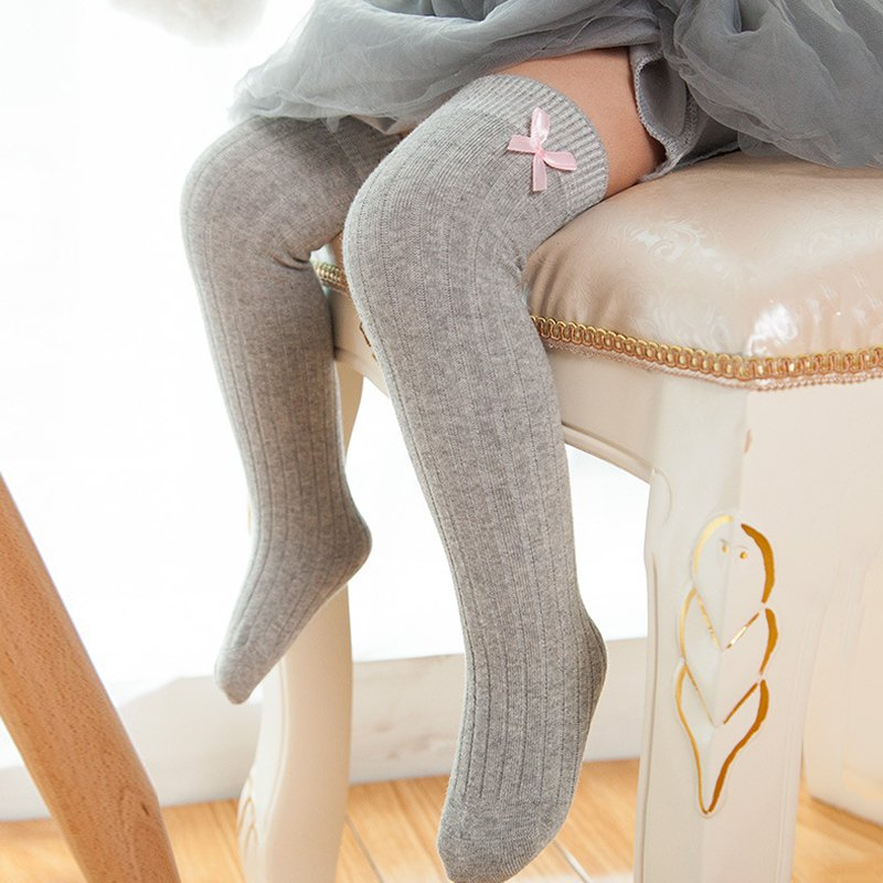 Toddler Knee High Socks Cotton Baby Girls Soft Stockings Girls Long Socks Bow-knot Leg Warmers For Kids