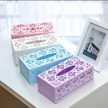 New Arrival Fashion Tissue Box Holder Simple Blue Pink Plastic Car Napkin Facial Paper Case Storage Organizer For Home Kitchen