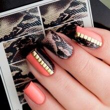 1 feuille 7*6.5cm peau de serpent eau décalcomanies Nail Art eau toboggan autocollant à ongles papier ongle curseur bricolage ongles conseils décorations