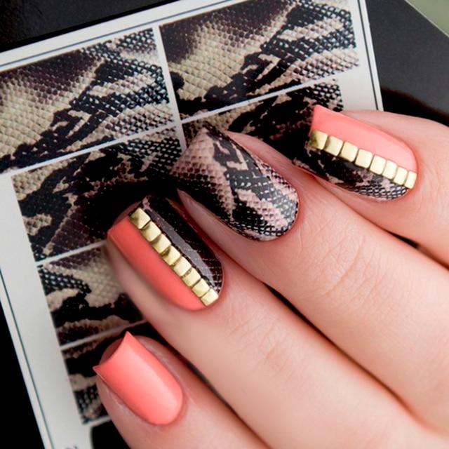 1 sheet 7*6.5cm Snake Skin Water Decals Nail Art Water Slide Nail Sticker Paper Nail Slider DIY Nail Tips Decorations