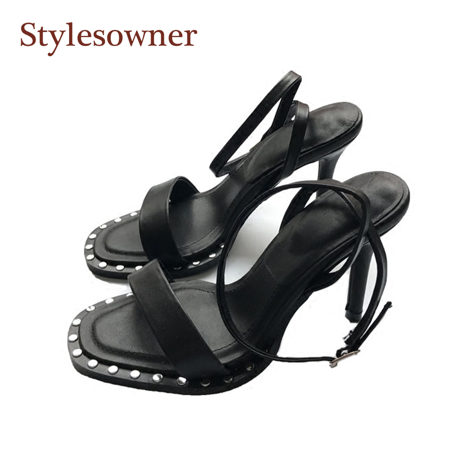 Stylesowner Top Grade Quality Women Summer Sandal Shoe Rivets Sole Ankle Strap Thin Heel Sexy Gladiator Open Toe Sandal new arrived top grade ankle strap open