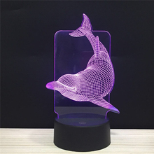 Lucky Dolphin Sign LED 3D NightLight Acrylic Night Lamp Light Luminary With Touch And Remote Lamps Lights Kids Decoration Mylamp