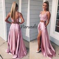 2019 Двойка молодые девушки пикантные розовые платья для выпускного вечера с вырезом без рукавов с открытой спиной корсет кружева урожай выс