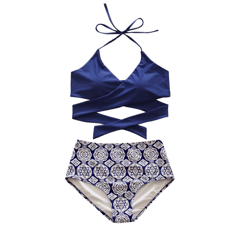NATURE ARMOUR 2018 bikini high waist floral Sexy Criss Cross Bandage Bikini Set Beach Bathing Suit women's swimming suit цены онлайн