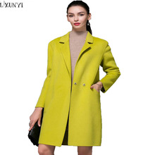 High-end Women Double Sided Cashmere Coat sacos mujer invierno 2017 Double Breasted Cocoon long Woolen Overcoat Warm Winter Coat