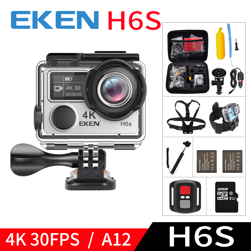EKEN H6S A12 Ultra 4K 30FPS Wifi Action Camera 30M waterproof 1080p go EIS Image Stabilization Ambarella 14MP pro sport cam 2017 arrival original eken action camera h9 h9r 4k sport camera with remote hd wifi 1080p 30fps go waterproof pro actoin cam