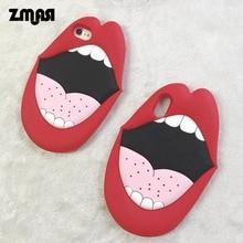 Zmasi 2018 Новый 3D красный Средства ухода за губами cell чехол для iPhone X 8 7 силиконовые рот телефон сумка для iPhone 6 6S плюс мягкая задняя принципиально крышка