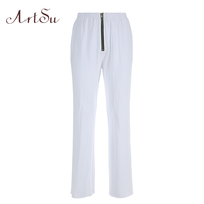 ArtSu 2019 Casual   Pants   Women White Trousers Sweatpants Zipper Straight Loose   Pants   Streetwear Hip Hop   Capri   Joggers ASPA20175