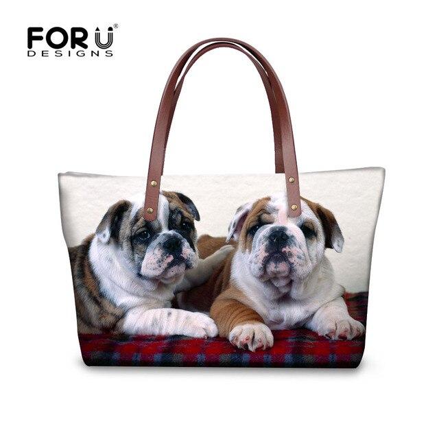 8c6d9f96391 FORUDESIGNS Women Casual Large Handbags Funny 3D Bulldog Woman Travel Shoulder  Bags Cross-body For