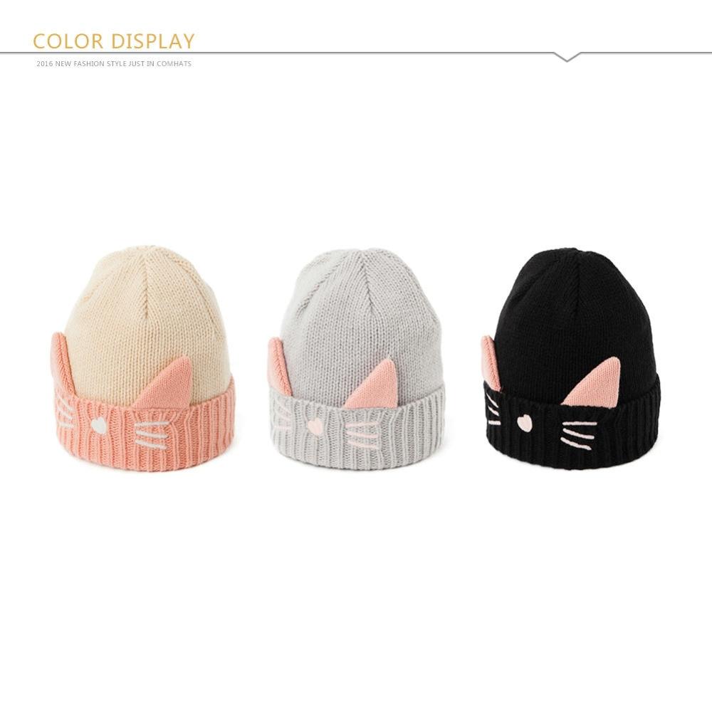 Women Knitted Beanies Cat Ear Cap Winter Hats Skullies for Girl Bonnet  SIGGI gorros muts Wool Thick Fleece czapa zimowa 88236-in Skullies &  Beanies from ...