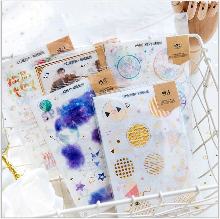 3 pages/pack gold stamping starry sky space flowers Decorative Planner Stickers DIY Diary Scrapbooking Phone Index Seal Stickers