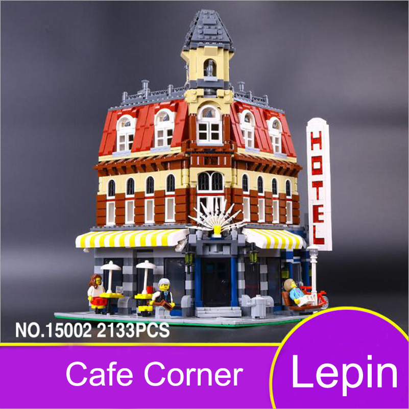 Lepin 15002 City Series Building Blocks Set Creative Coffee Corner Hotel Architecture Model Toys Compatible Gifts For Children hot sembo block compatible lepin architecture city building blocks led light bricks apple flagship store toys for children gift