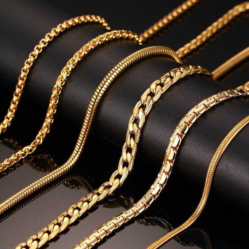 Vnox 24 inch Gold-farbe Kette Halskette Lange Edelstahl Metall Schlange/Kabel/Runde Box Kette