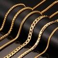 Vnox 24 polegada banhado a ouro longo colar de corrente cobra de metal em aço inoxidável/cabo/cadeia caixa redonda