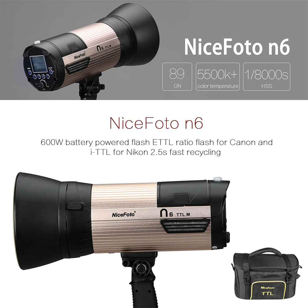 NiceFoto N6 600Ws GN89 HSS 1/8000S Flash Light with 6600mAh Battery ETTL for Canon and i-TTL for Nikon 2.5s Fast Recycling nicefoto k8 800ws gn103 ttl hss 1 8000s 2 4g wireless battery powered flash 1 8s fast recycling for canon nikon dslr cameras