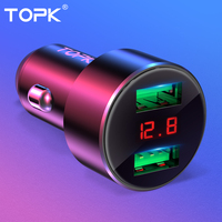 TOPK G209 Digital Display Dual USB Car Charger for iPhone Xs Max Samsung Xiaomi 3.1A Voltage Monitoring Car Charger For Phone