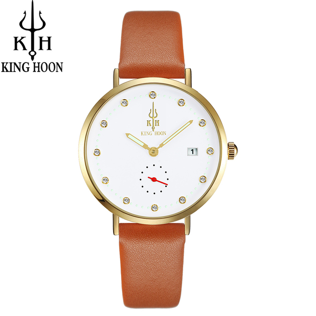 KING HOON 2017 Hot sales watch women clock dress watch  brand women's Casual Leather quartz watch Analog women wrist watch gifts