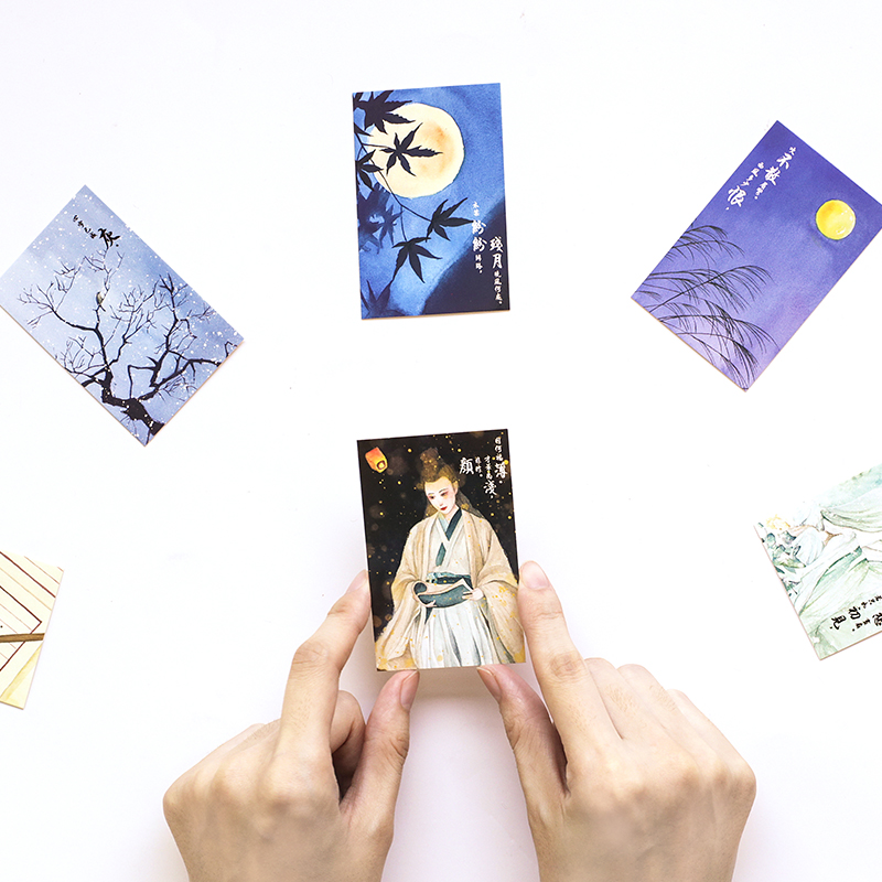 28 Pcs box Ancient people scenery mini greeting cards blessing card message cards birthday card postcard gift in Cards Invitations from Home Garden