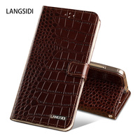 LANGSIDI Top Genuine Leather Cover Case For Samsung Galaxy A7 2017 A720F Stand Wallet Magnetic Flip