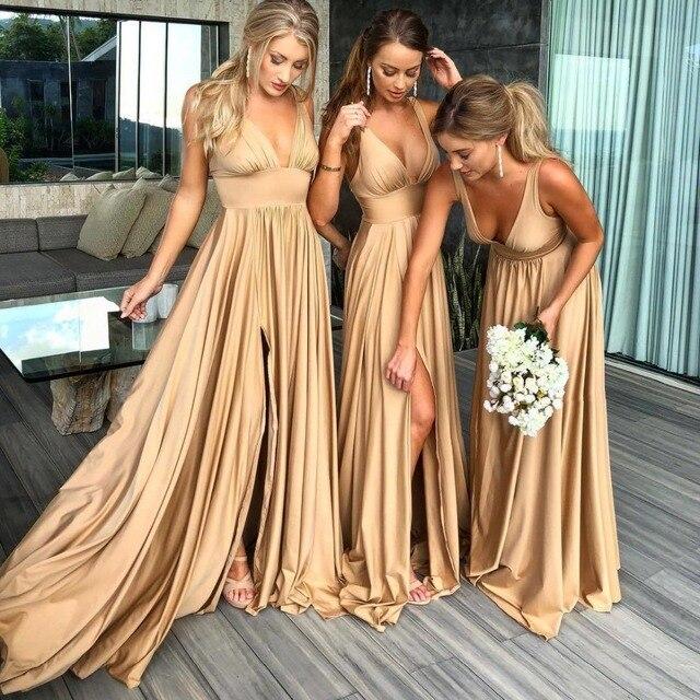 Gewaad Demoiselle Dhonneur Sexy Slit Champagne Goud Bruidsmeisje Jurken Lange Satin V hals Formele Prom Party Gown BM0141