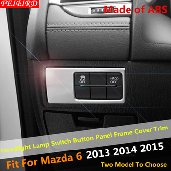 ABS Pearl Chrome Headlight Lamp Switch Button Panel Frame Cover Trim Interior For Mazda 6 2013 2014 2015 image