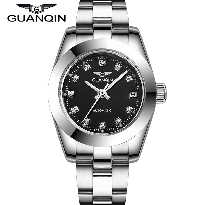 ФОТО GUANQIN GQ70005 Luxury Original Women automatic watch Waterproof Diamond sapphire Women gold watch 12 month Guaranteed