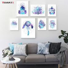 Colorful Indian Amulet Keys Lotus Feathers Wall Art Canvas Painting Prints And Poster Pictures For Living Room Home Decor