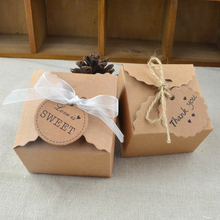 10pcs Vintage Mini Kraft Paper Candy Box Gift Favor Boxes Packaging with Ribbon and Tag Wedding Birthday Party Favor Decoration