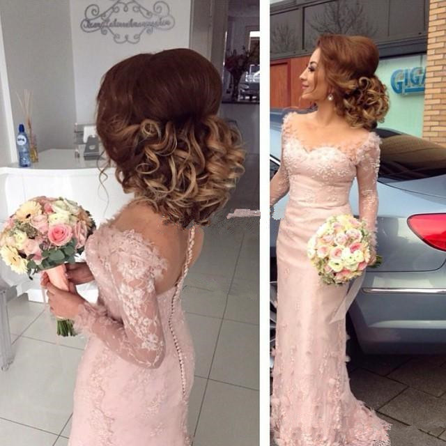 Long Sleeves 2019 Cheap Bridesmaid Dresses Under 50 Mermaid Sweetheart Lace Beaded Long Wedding Party Dresses For Women