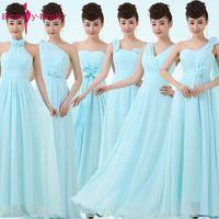 ยาวสีฟ้าชุดเพื่อนเจ้าสาว2017ชุดชีฟองอย่างเป็นทางการเดรสของพรรคจัดงานแต่งงานที่