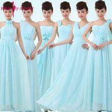 2016 Abito lungo blu chiaro Abito da damigella d'onore Abiti formali in chiffon di abiti da festa per matrimoni blu pastello