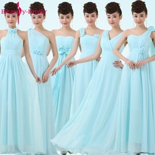 Musim luruh panjang pakaian biru pengisi pengantin pakaian gadis pengisi pengantin gaun formal pakaian perkahwinan pihak pepejal pastel pakaian parti biru untuk Juniors