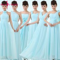 Long Light Blue Dress Bridesmaid Dress 2017 Chiffon Formal Dresses Of Party Wedding Solid Pastel Blue Party Dresses For Juniors