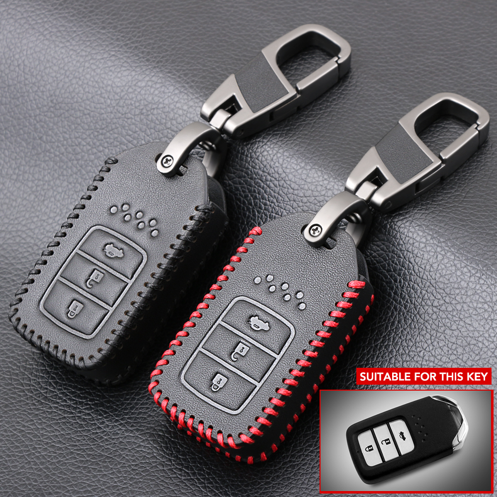 Leather Key Case Cover Holder For Honda Civic Ridgeline CRV 2 Buttons Remote Key
