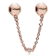 100% 925 Sterling Silver Bead Charm Rose Embossed Hearts Safety Chain Fit Original Pandora Bracelet for Women DIY Europe Jewelry geoki 925 sterling silver rose gold white cubic zirconia clover silicone safety chain fit original pandora bracelet leaf charm