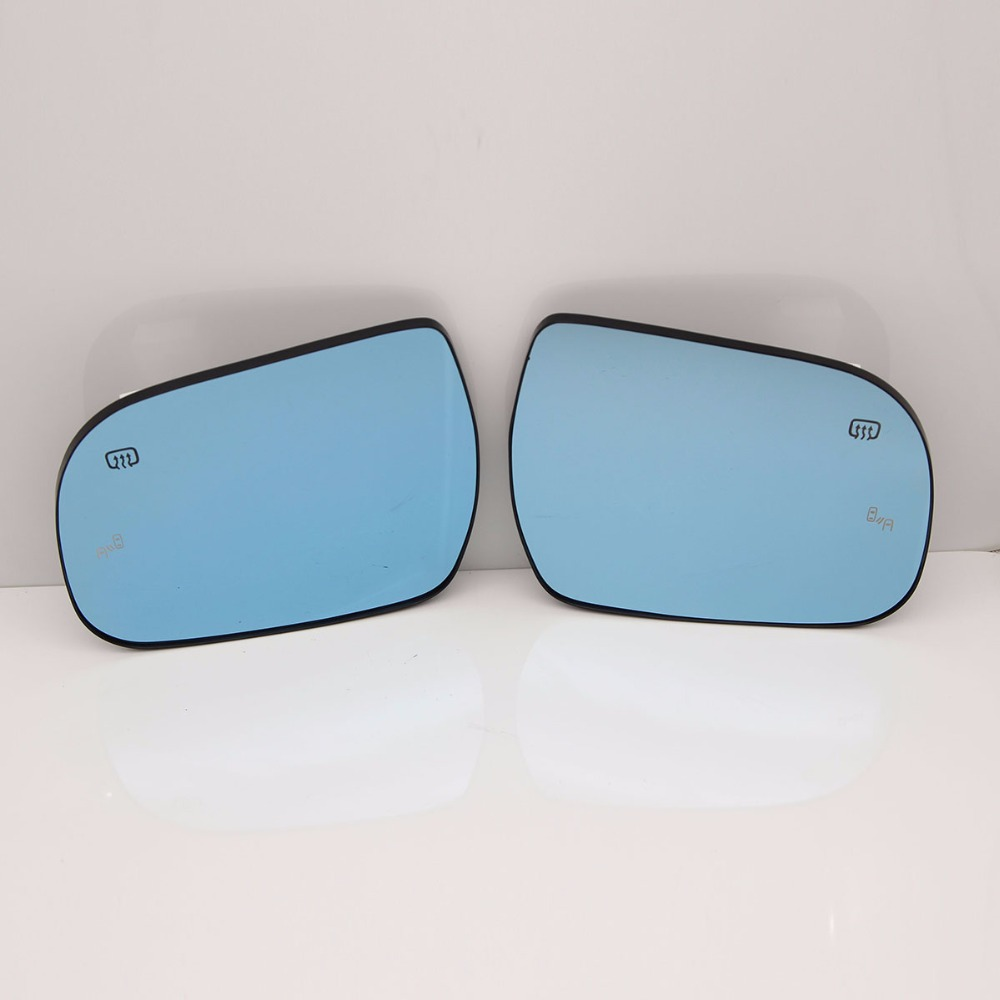 Blue Wing Mirror Glass With Base-Heated Car Angle Wide Proof Mirror Support Original Car BSD LOGO For Toyota Sienna