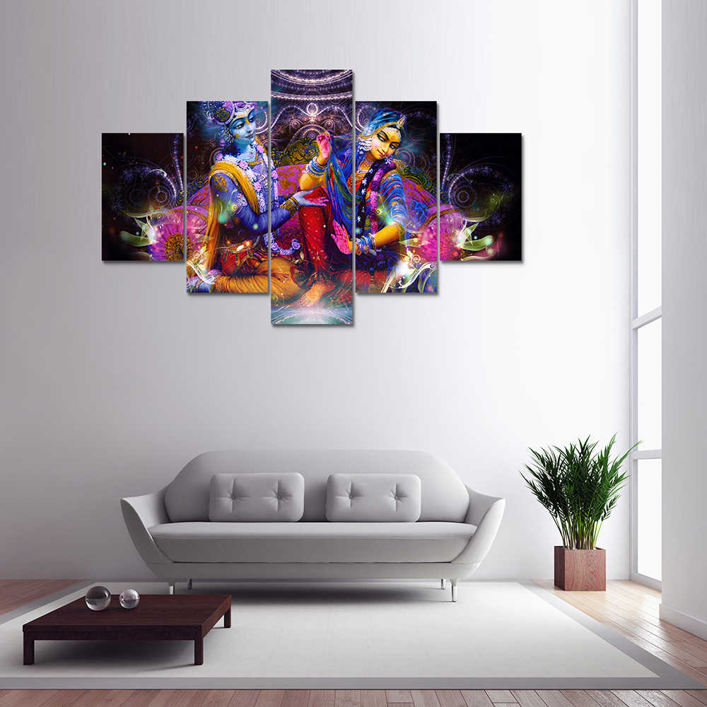 5 Panel Hd Printed Canvas Painting Radha Krishna Canvas Print Art Modern Home Decorative Wall Art Picture For Living Room F1205