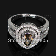 Gorgeous Natural Pear Cut Coffee Diamond Ring Solid 14Kt White Gold Real Champagne Diamond Ring For