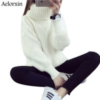 Turtleneck Sweater Women Sweaters and Pullovers 2017 Winter Girl White Thickened Knitted Sweaters Pull Femme Jumper Tricot Tops