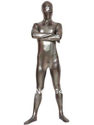 Silver Fullbody Shiny Metallic Zentai Tights