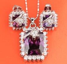 Rechteck Blumen Lila Amethyst Weiß Mode Silber Schmuck Sets Ohrringe Anhänger Ring Für Frauen S8153