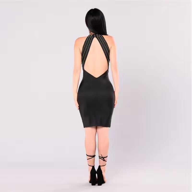 Новое поступление женское сексуальное шипованное черное белое вискозное облегающее Бандажное платье 2017 дизайнерское с открытой спиной элегантное праздничное вечерние платье знаменитостей