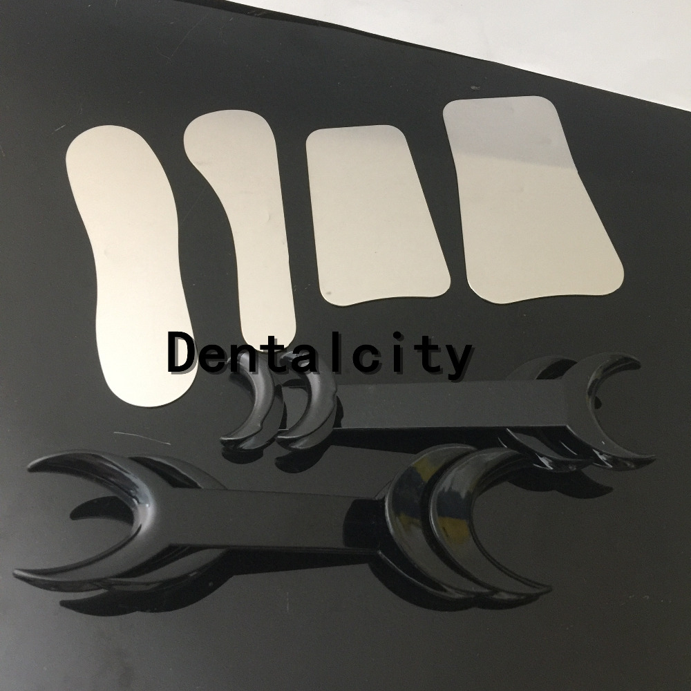 New 4 Dental Photographic Mirror Stainless steel Autoclavebale +4pcs Dental Black Double-head Cheek Lip Retractor Opener 5pcs set oral clinic stainless steel photographic mirror reflector and 4pcs 2set s l double headed retractor opener dental lab