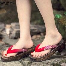 WHOHOLL Original Geta Japanese Lady clogs Flip Flops summer wedge sandals cool wooden geta indoor kimono slippers for female
