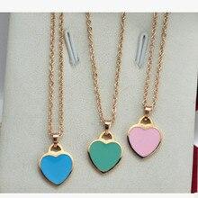 Rose gold plated pink love heart pendant necklace women collar bijuterias,fashion blue choker valentine's day gift 2015