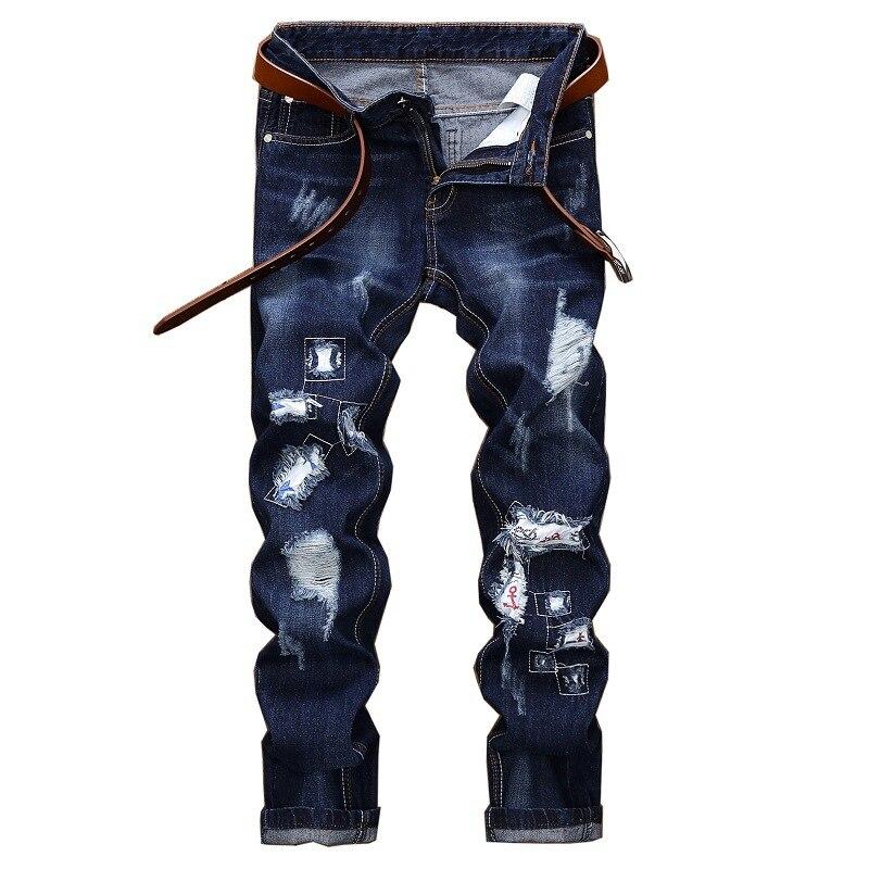 Embroidery men straight hole Patch fashion mens jeans luxury Men Ripped denim trousers zipper Slim dark blue jeans for men