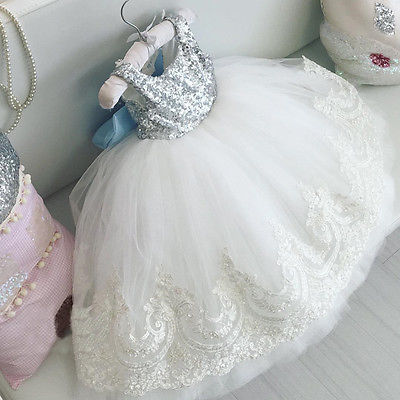 2018 New Baby Kids Girls Party Gown Formal Dress Sequins Flower Lace Bowknot Dress Sleeveless Backless Wedding Dress 0-10M